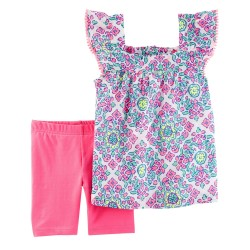 239G622 Blusa sin manga estampada short rosa